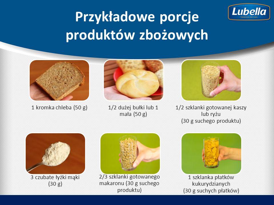 Przykładowe porcje produktów zbożowych 1 kromka chleba (50 g)1/2 dużej bułki lub 1 mała (50 g) 1/2 szklanki gotowanej kaszy lub ryżu (30 g suchego produktu) 3 czubate łyżki mąki (30 g) 2/3 szklanki gotowanego makaronu (30 g suchego produktu) 1 szklanka płatków kukurydzianych (30 g suchych płatków)