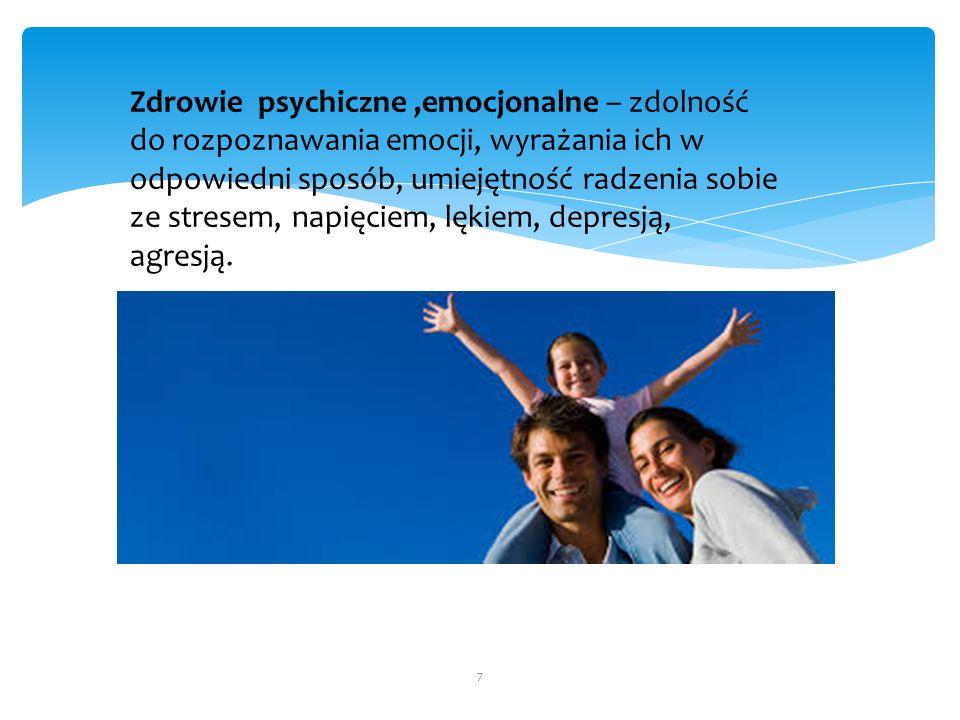 Zdrowie psychiczne,emocjonalne – zdolność do rozpoznawania emocji, wyrażania ich w odpowiedni sposób, umiejętność radzenia sobie ze stresem, napięciem, lękiem, depresją, agresją.