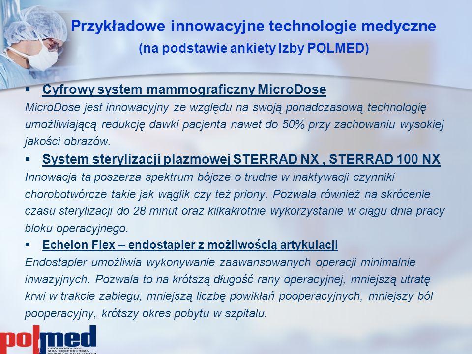 Przykładowe innowacyjne technologie medyczne (na podstawie ankiety Izby POLMED)   Cyfrowy system mammograficzny MicroDose MicroDose jest innowacyjny