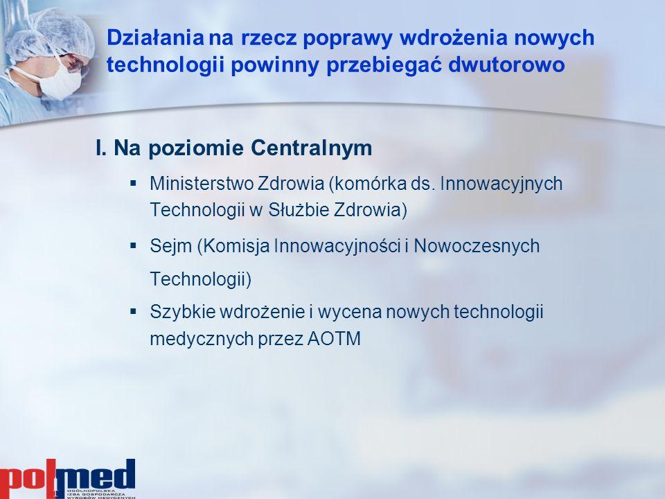 Działania na rzecz poprawy wdrożenia nowych technologii powinny przebiegać dwutorowo I. Na poziomie Centralnym   Ministerstwo Zdrowia (komórka ds. I