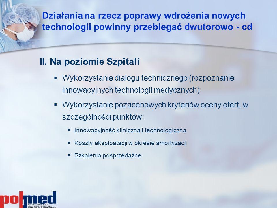 II. Na poziomie Szpitali   Wykorzystanie dialogu technicznego (rozpoznanie innowacyjnych technologii medycznych)   Wykorzystanie pozacenowych kryt