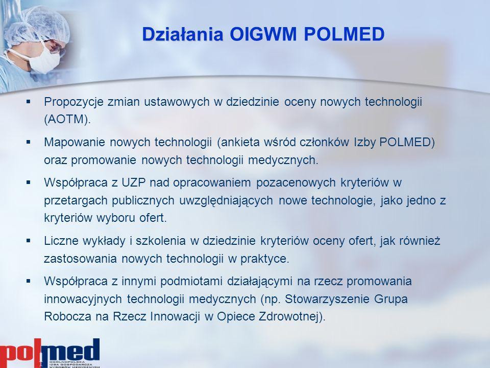 Działania Działania OIGWM POLMED   Propozycje zmian ustawowych w dziedzinie oceny nowych technologii (AOTM).   Mapowanie nowych technologii (ankie