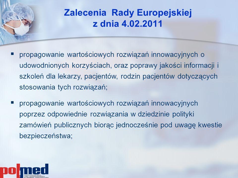 Zalecenia Rady Europejskiej z dnia 4.02.2011  propagowanie wartościowych rozwiązań innowacyjnych o udowodnionych korzyściach, oraz poprawy jakości in