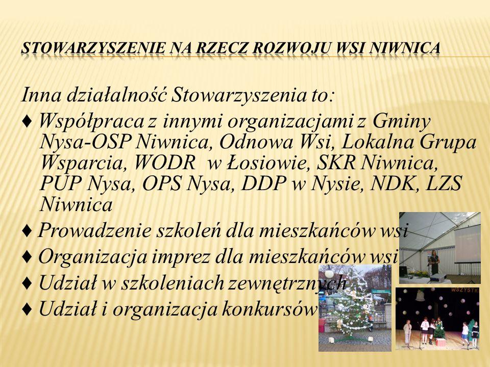 Inna działalność Stowarzyszenia to: ♦ Współpraca z innymi organizacjami z Gminy Nysa-OSP Niwnica, Odnowa Wsi, Lokalna Grupa Wsparcia, WODR w Łosiowie,