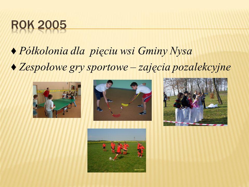 ♦ Półkolonia dla pięciu wsi Gminy Nysa ♦ Zespołowe gry sportowe – zajęcia pozalekcyjne