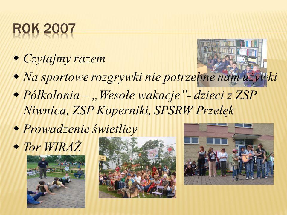 """ Czytajmy razem  Na sportowe rozgrywki nie potrzebne nam używki  Półkolonia – """"Wesołe wakacje""""- dzieci z ZSP Niwnica, ZSP Koperniki, SPSRW Przełęk"""
