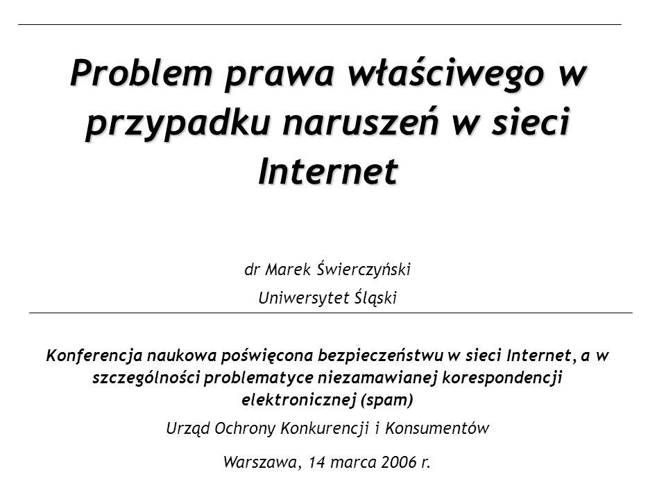 Agenda Właściwości Internetu utrudniające stosowanie norm kolizyjnych Prawo właściwe dla zobowiązań z czynów niedozwolonych popełnianych przy pomocy Internetu – Projekt rozporządzenia Rzym II o prawie właściwym dla zobowiązań pozaumownych – Odrębna regulacja kolizyjna dla czynów nieuczciwej konkurencji.