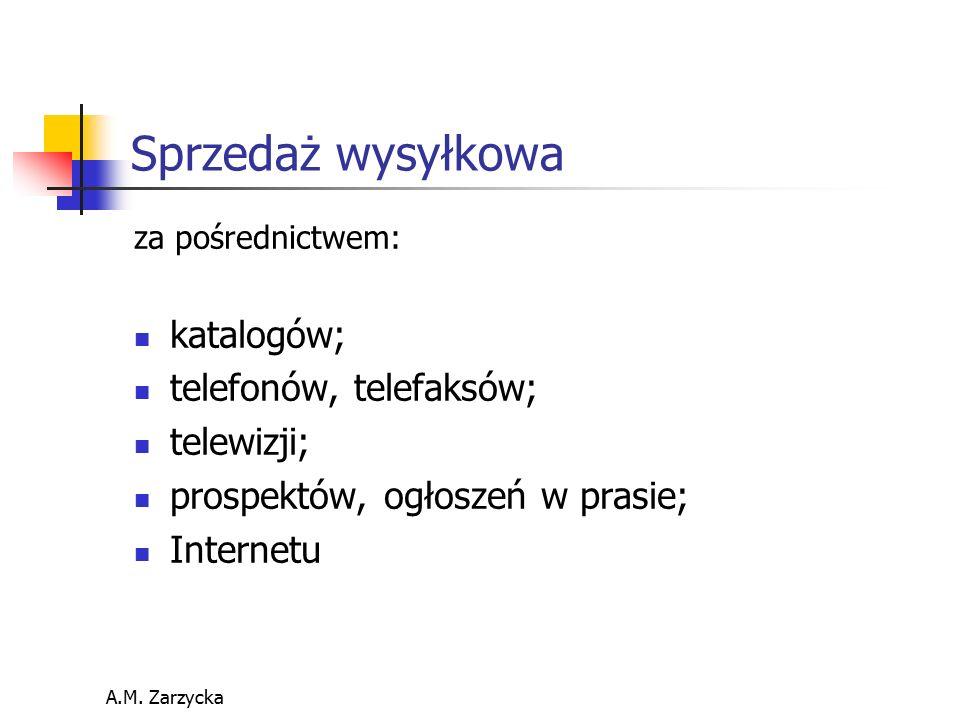 A.M. Zarzycka Sprzedaż wysyłkowa za pośrednictwem: katalogów; telefonów, telefaksów; telewizji; prospektów, ogłoszeń w prasie; Internetu