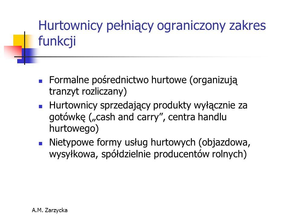 A.M. Zarzycka Hurtownicy pełniący ograniczony zakres funkcji Formalne pośrednictwo hurtowe (organizują tranzyt rozliczany) Hurtownicy sprzedający prod