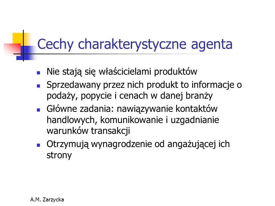 A.M. Zarzycka Cechy charakterystyczne agenta Nie stają się właścicielami produktów Sprzedawany przez nich produkt to informacje o podaży, popycie i ce