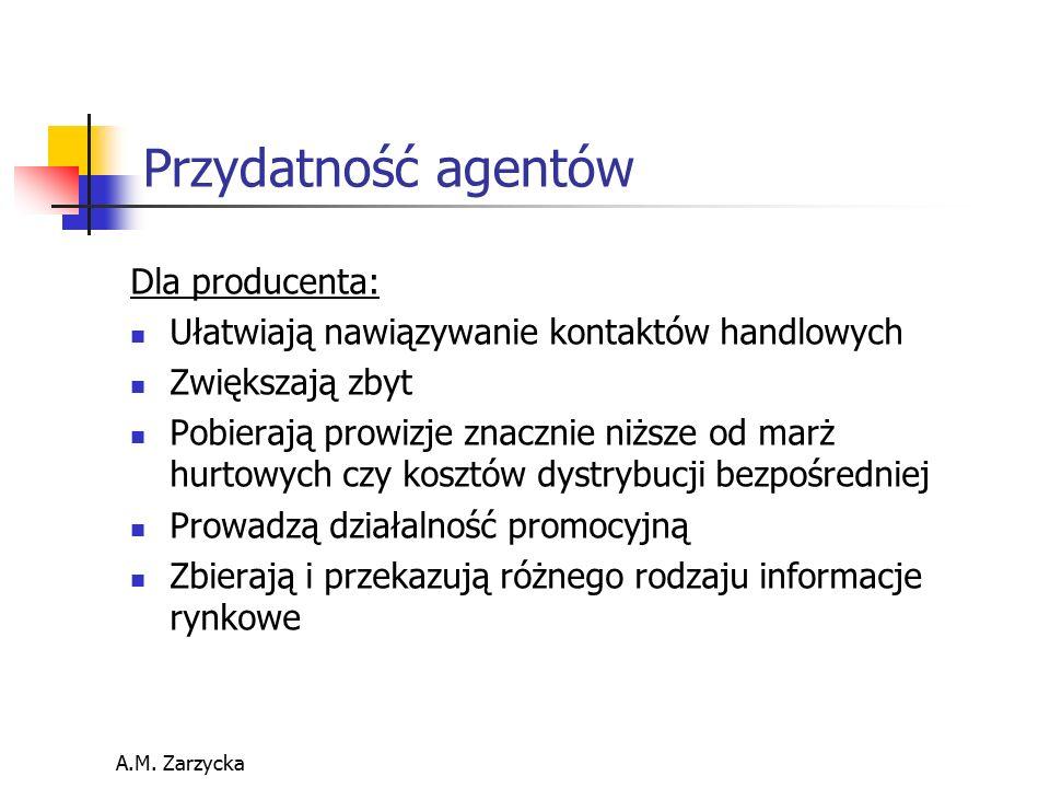 A.M. Zarzycka Przydatność agentów Dla producenta: Ułatwiają nawiązywanie kontaktów handlowych Zwiększają zbyt Pobierają prowizje znacznie niższe od ma