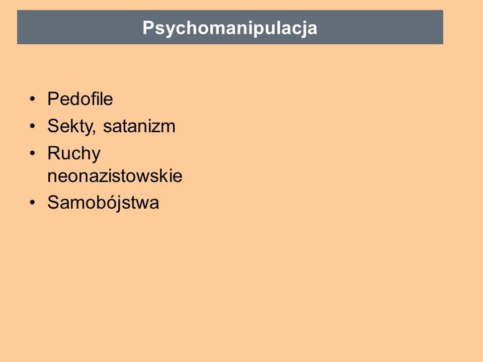 Pedofile Sekty, satanizm Ruchy neonazistowskie Samobójstwa Psychomanipulacja