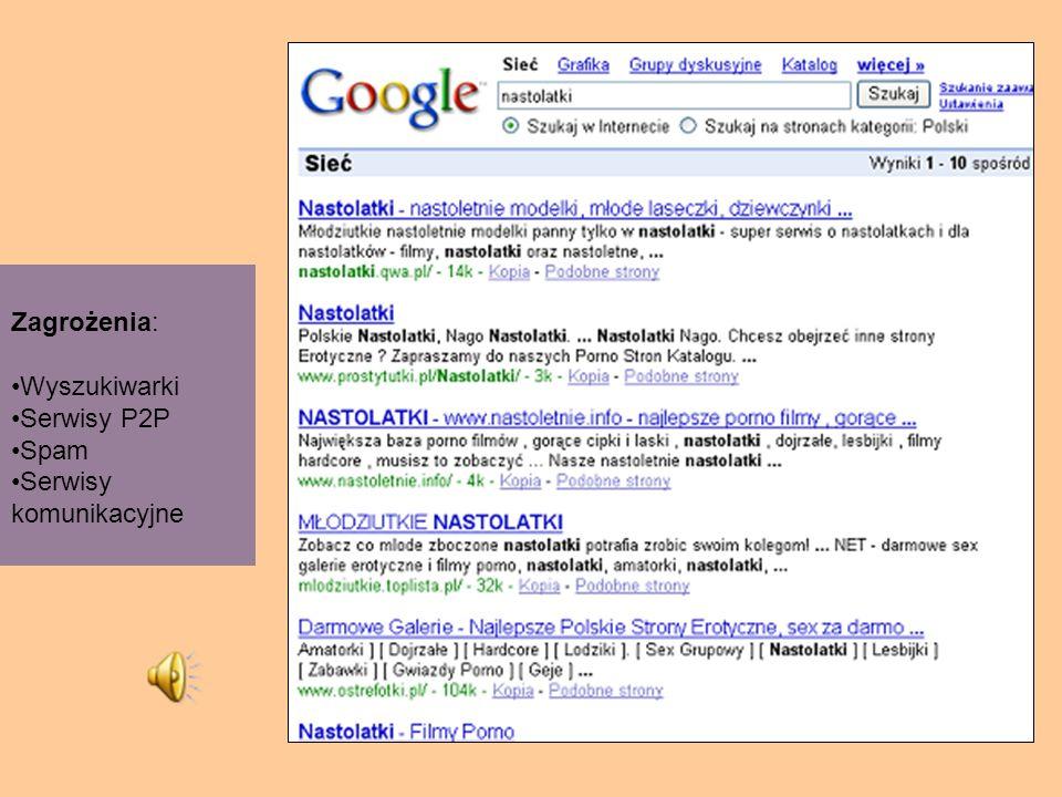 Zagrożenia: Wyszukiwarki Serwisy P2P Spam Serwisy komunikacyjne