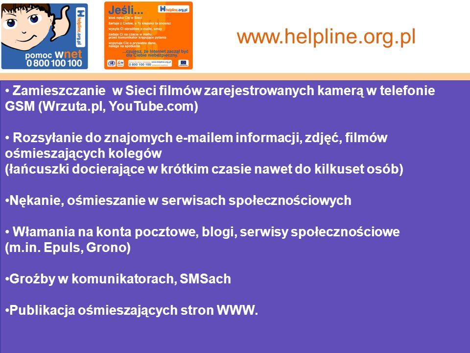Zamieszczanie w Sieci filmów zarejestrowanych kamerą w telefonie GSM (Wrzuta.pl, YouTube.com) Rozsyłanie do znajomych e-mailem informacji, zdjęć, filmów ośmieszających kolegów (łańcuszki docierające w krótkim czasie nawet do kilkuset osób) Nękanie, ośmieszanie w serwisach społecznościowych Włamania na konta pocztowe, blogi, serwisy społecznościowe (m.in.