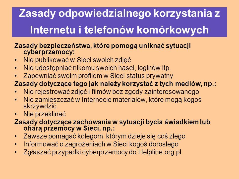 Zasady bezpieczeństwa, które pomogą uniknąć sytuacji cyberprzemocy: Nie publikować w Sieci swoich zdjęć Nie udostępniać nikomu swoich haseł, loginów itp.