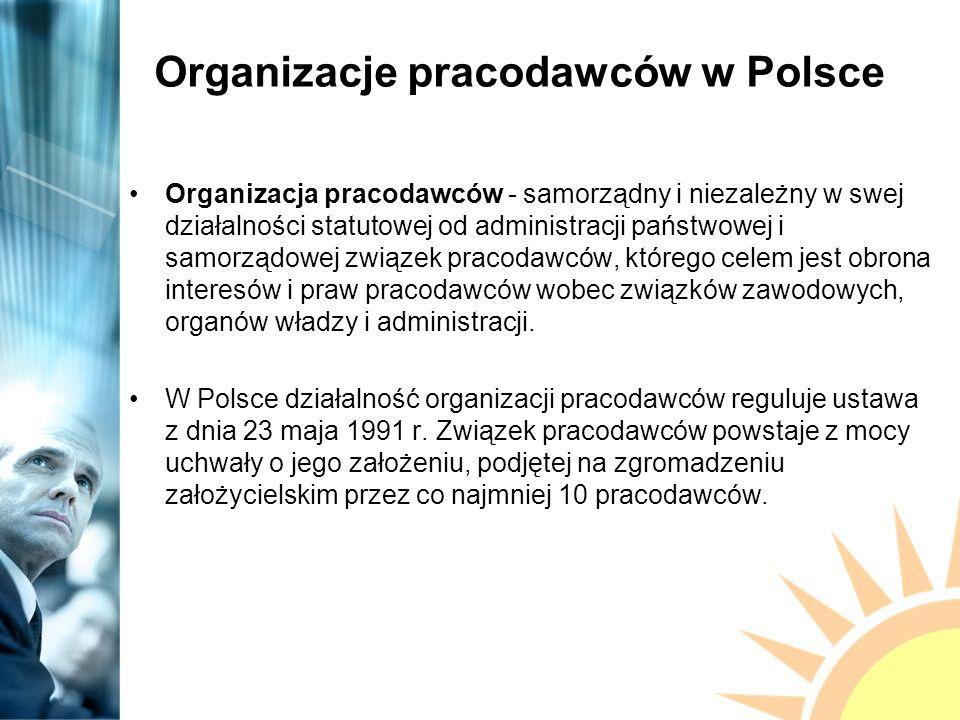 Organizacje pracodawców w Polsce Związki pracodawców mają prawo uczestniczenia w sporach zbiorowych i zawierania układów zbiorowych pracy.
