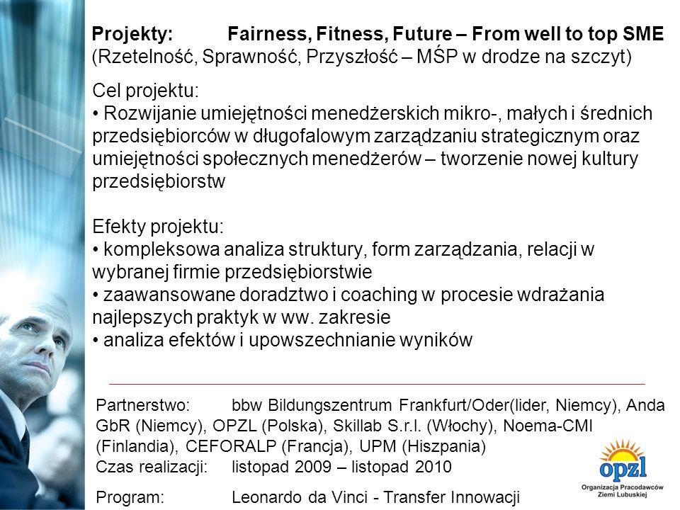 Projekty:Fairness, Fitness, Future – From well to top SME (Rzetelność, Sprawność, Przyszłość – MŚP w drodze na szczyt) Cel projektu: Rozwijanie umiejętności menedżerskich mikro-, małych i średnich przedsiębiorców w długofalowym zarządzaniu strategicznym oraz umiejętności społecznych menedżerów – tworzenie nowej kultury przedsiębiorstw Efekty projektu: kompleksowa analiza struktury, form zarządzania, relacji w wybranej firmie przedsiębiorstwie zaawansowane doradztwo i coaching w procesie wdrażania najlepszych praktyk w ww.