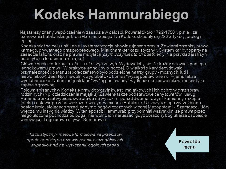 Kodeks Hammurabiego Najstarszy znany współcześnie w zasadzie w całości.