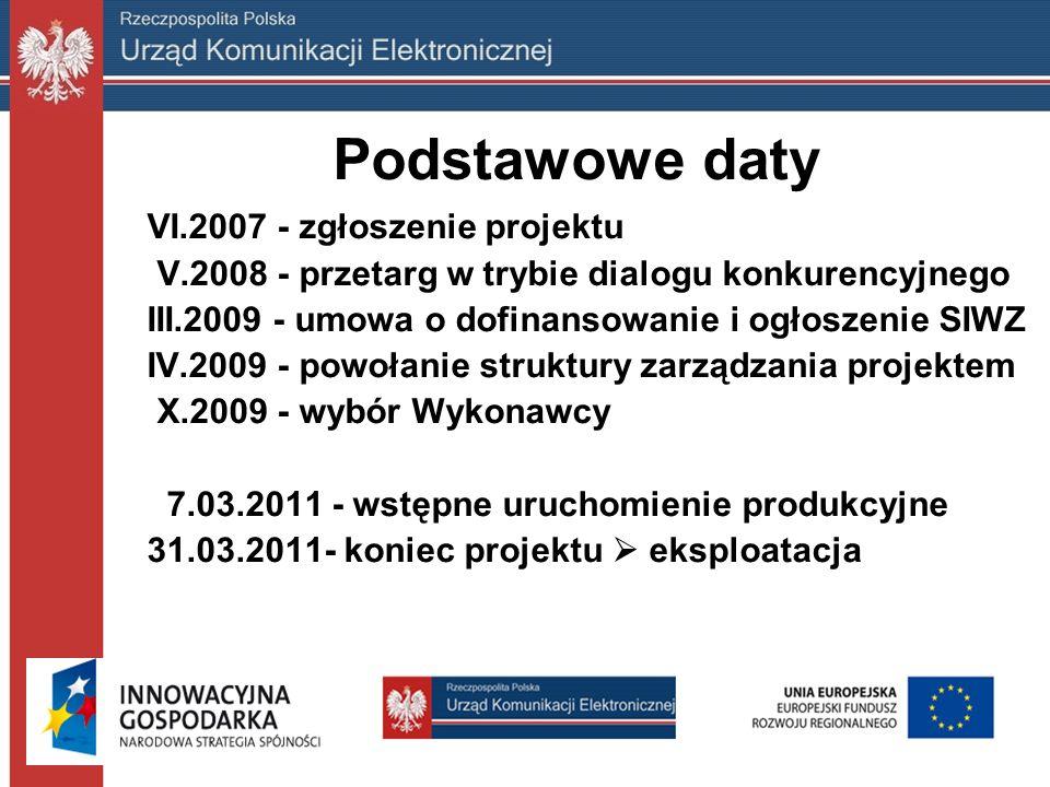 Podstawowe daty VI.2007 - zgłoszenie projektu V.2008 - przetarg w trybie dialogu konkurencyjnego III.2009 - umowa o dofinansowanie i ogłoszenie SIWZ IV.2009 - powołanie struktury zarządzania projektem X.2009 - wybór Wykonawcy 7.03.2011 - wstępne uruchomienie produkcyjne 31.03.2011- koniec projektu  eksploatacja