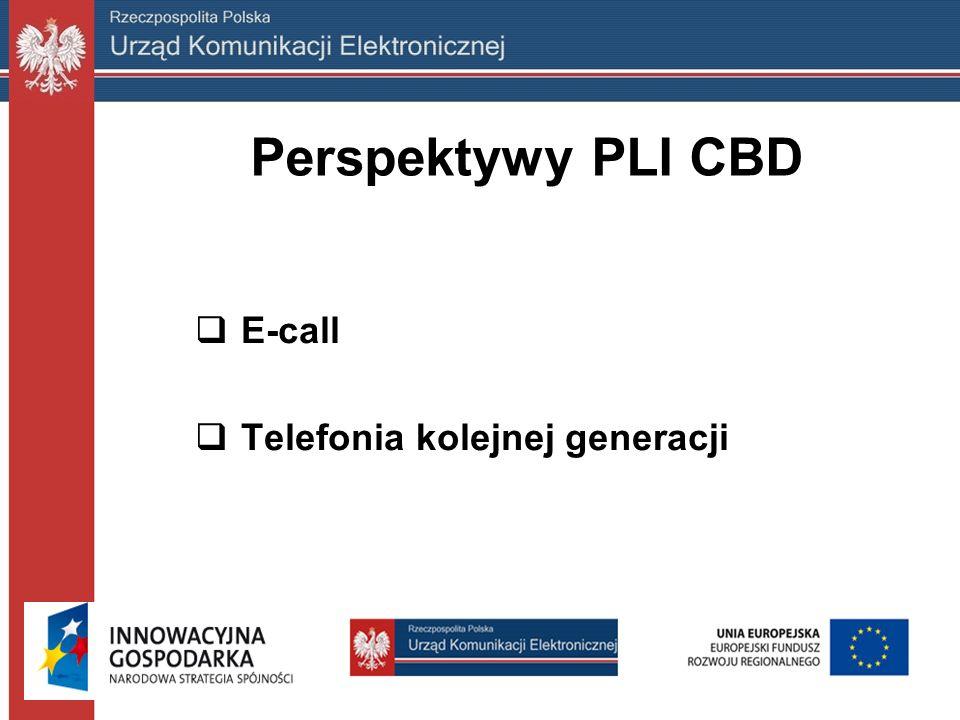 Perspektywy PLI CBD  E-call  Telefonia kolejnej generacji
