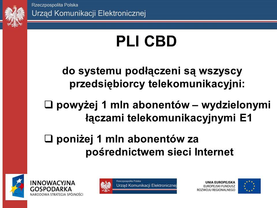 PLI CBD do systemu podłączeni są wszyscy przedsiębiorcy telekomunikacyjni:  powyżej 1 mln abonentów – wydzielonymi łączami telekomunikacyjnymi E1  poniżej 1 mln abonentów za pośrednictwem sieci Internet