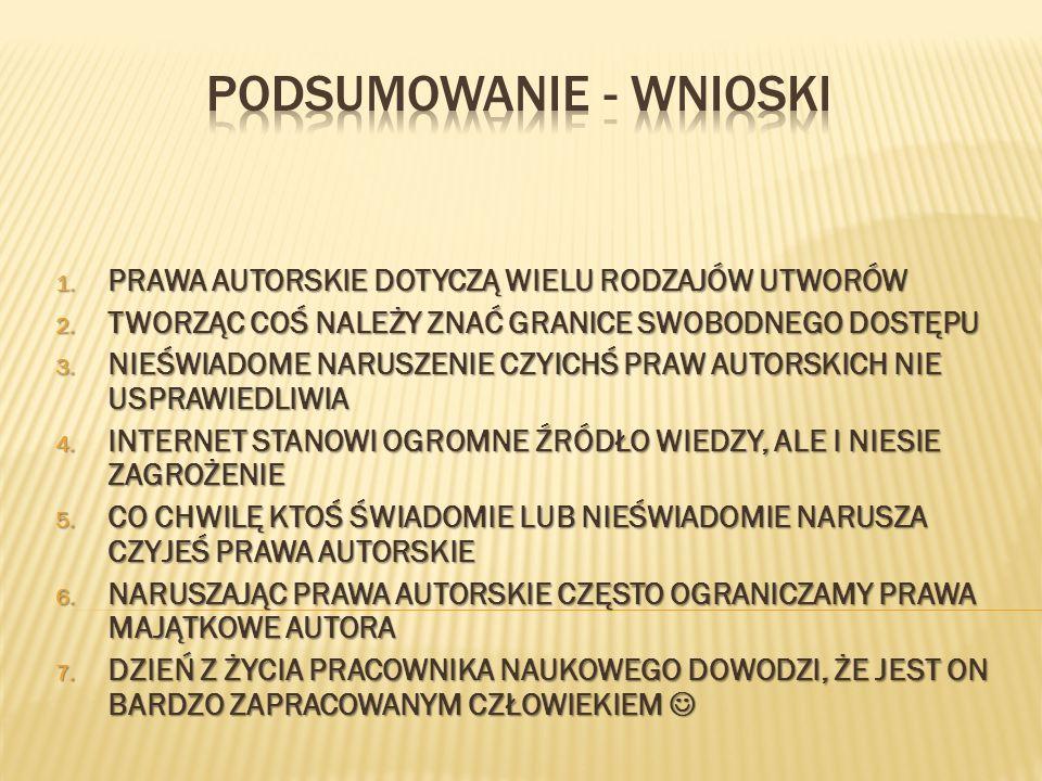 1. PRAWA AUTORSKIE DOTYCZĄ WIELU RODZAJÓW UTWORÓW 2.