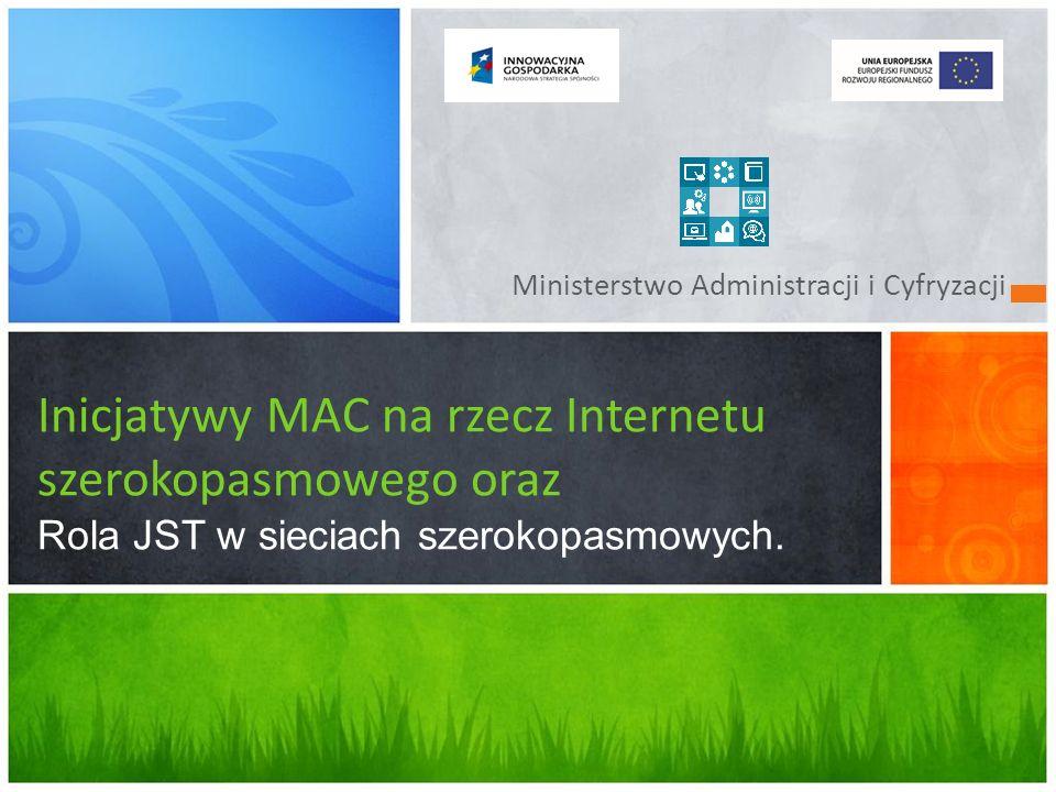 Ministerstwo Administracji i Cyfryzacji Inicjatywy MAC na rzecz Internetu szerokopasmowego oraz Rola JST w sieciach szerokopasmowych.