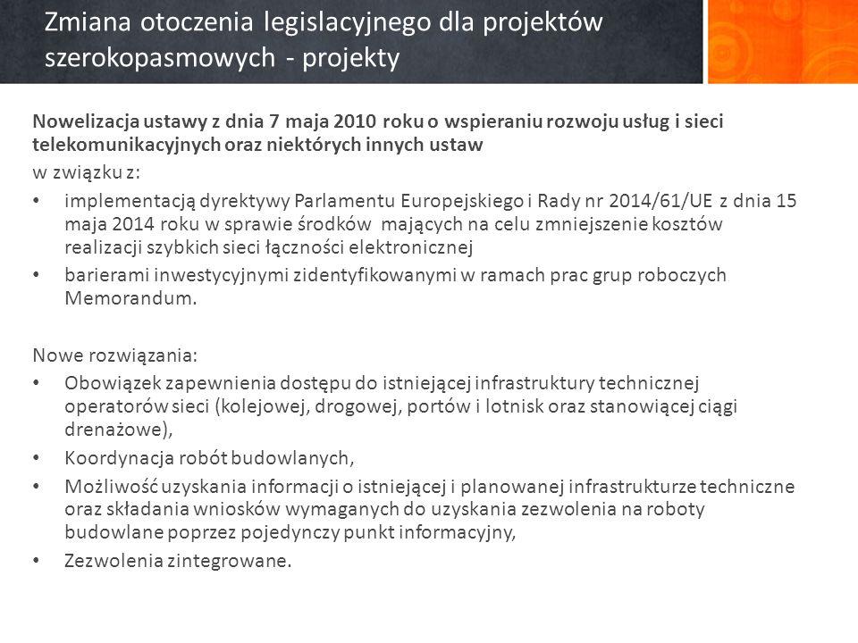 Zmiana otoczenia legislacyjnego dla projektów szerokopasmowych - projekty Nowelizacja ustawy z dnia 7 maja 2010 roku o wspieraniu rozwoju usług i sieci telekomunikacyjnych oraz niektórych innych ustaw w związku z: implementacją dyrektywy Parlamentu Europejskiego i Rady nr 2014/61/UE z dnia 15 maja 2014 roku w sprawie środków mających na celu zmniejszenie kosztów realizacji szybkich sieci łączności elektronicznej barierami inwestycyjnymi zidentyfikowanymi w ramach prac grup roboczych Memorandum.