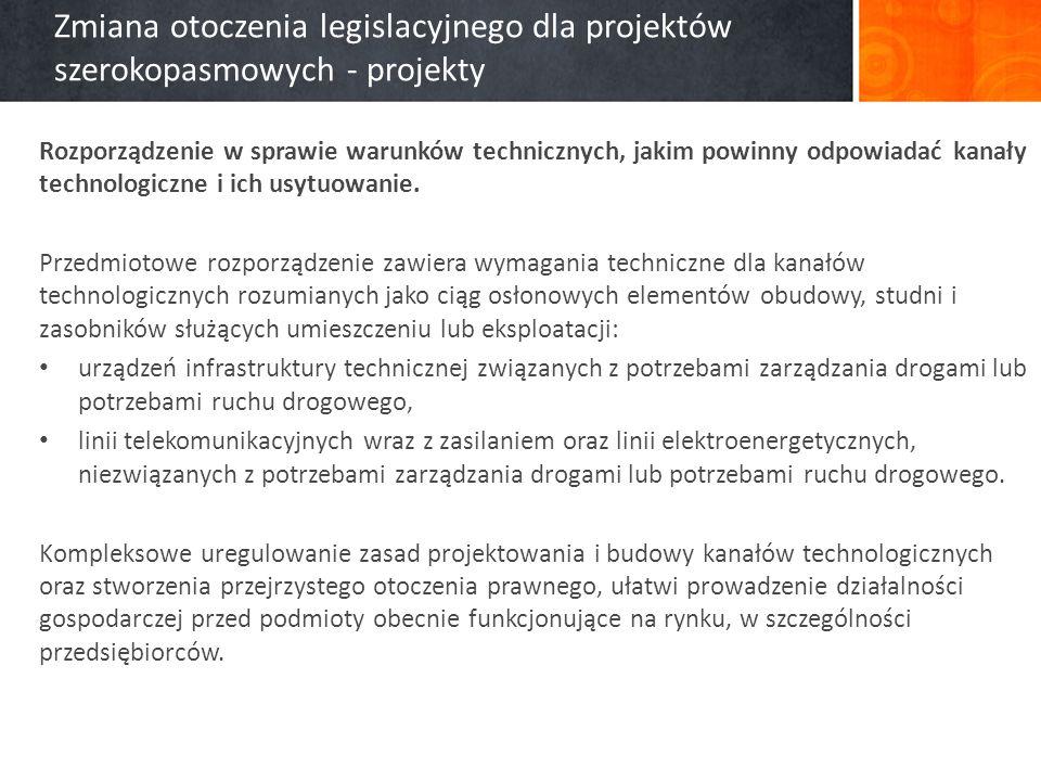 Zmiana otoczenia legislacyjnego dla projektów szerokopasmowych - projekty Rozporządzenie w sprawie warunków technicznych, jakim powinny odpowiadać kanały technologiczne i ich usytuowanie.