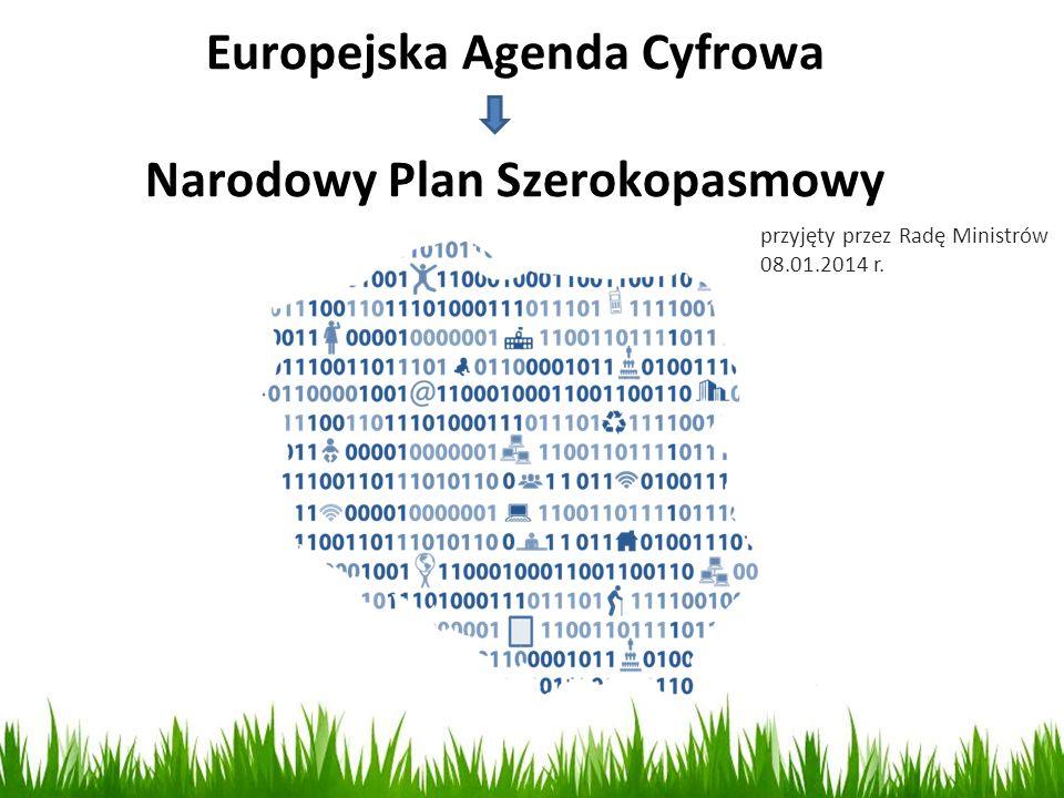 4 CEL GŁÓWNY: realizacja wskaźników Europejskiej Agendy Cyfrowej Zapewnienie powszechnego dostępu do Internetu o prędkości co najmniej 30 Mb/s do końca 2020 roku.