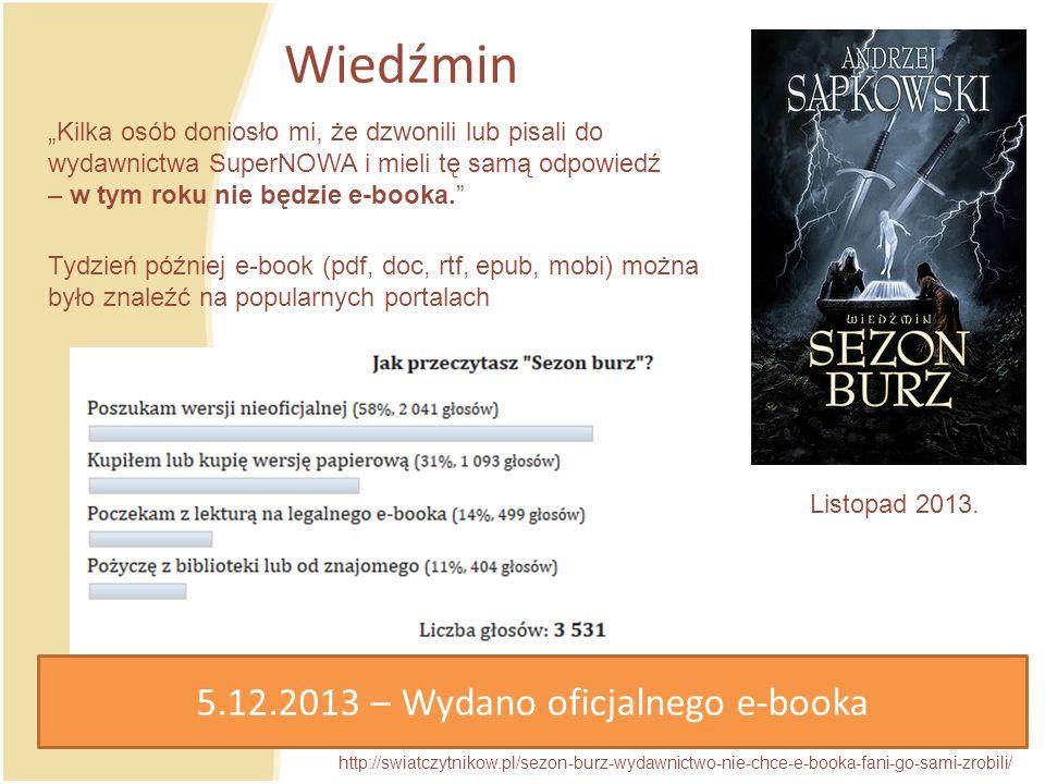 Wiedźmin http://swiatczytnikow.pl/sezon-burz-wydawnictwo-nie-chce-e-booka-fani-go-sami-zrobili/ Listopad 2013.