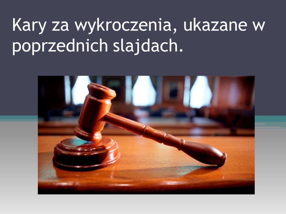 Kary za wykroczenia, ukazane w poprzednich slajdach.