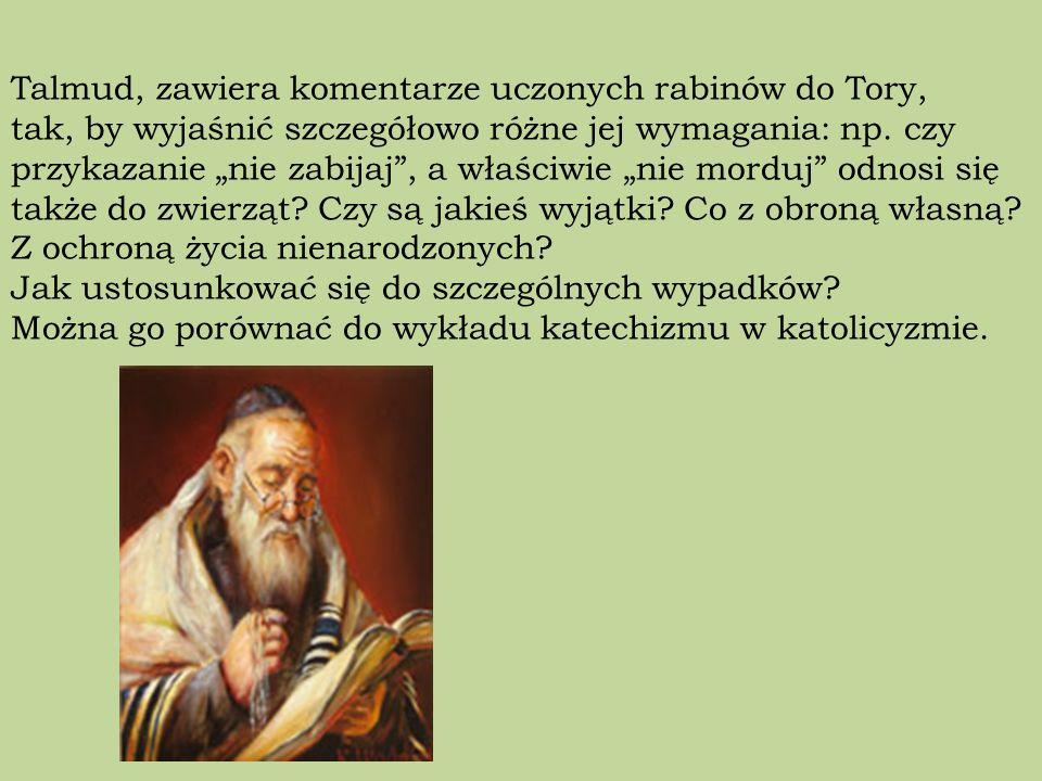 Talmud, zawiera komentarze uczonych rabinów do Tory, tak, by wyjaśnić szczegółowo różne jej wymagania: np.