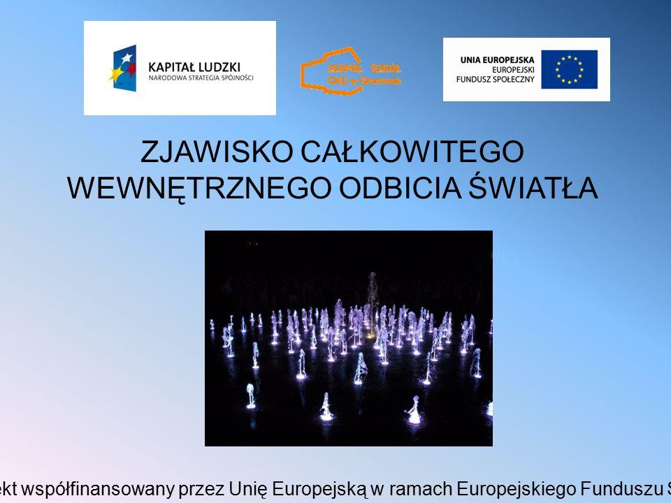 ZJAWISKO CAŁKOWITEGO WEWNĘTRZNEGO ODBICIA ŚWIATŁA Projekt współfinansowany przez Unię Europejską w ramach Europejskiego Funduszu Społecznego