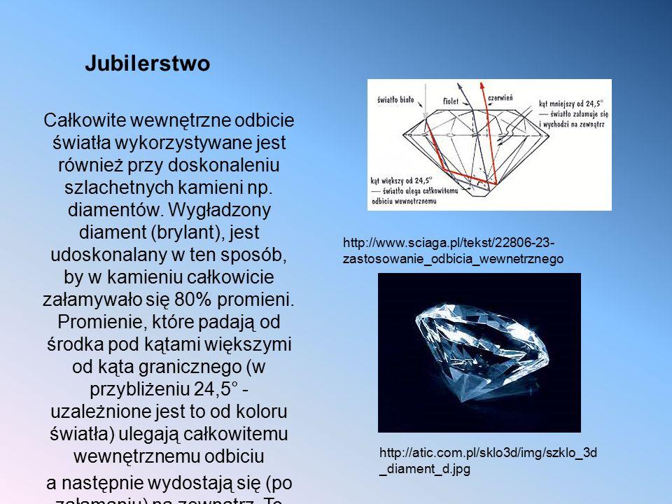 Jubilerstwo Całkowite wewnętrzne odbicie światła wykorzystywane jest również przy doskonaleniu szlachetnych kamieni np. diamentów. Wygładzony diament
