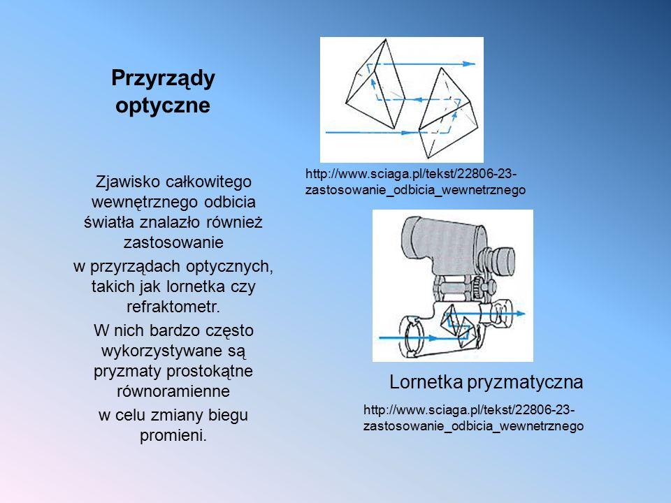 Przyrządy optyczne Zjawisko całkowitego wewnętrznego odbicia światła znalazło również zastosowanie w przyrządach optycznych, takich jak lornetka czy r