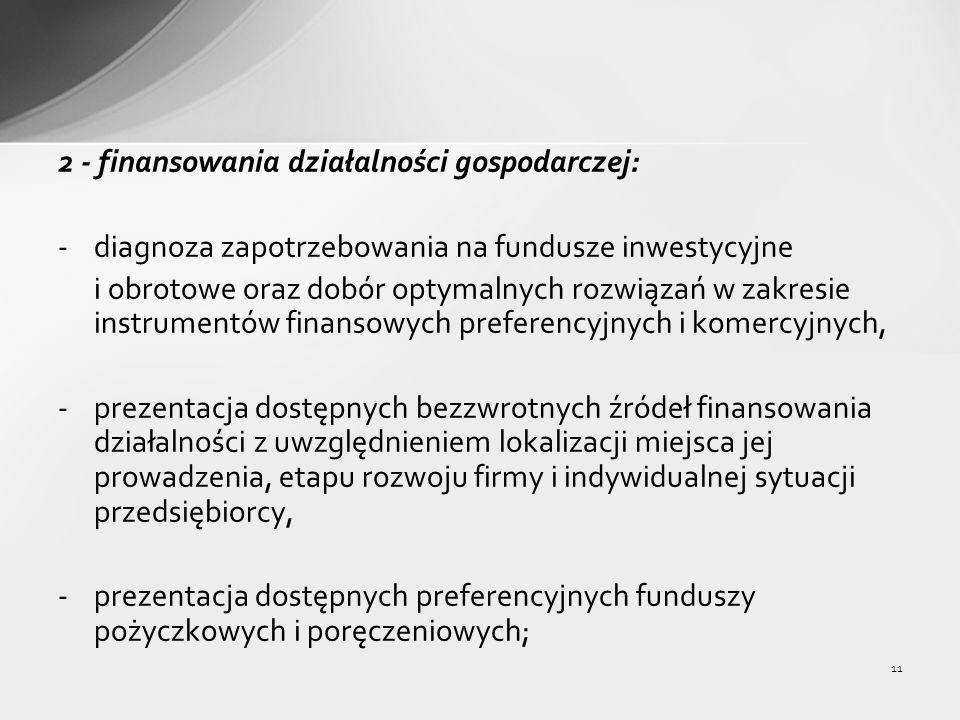 11 2 - finansowania działalności gospodarczej: -diagnoza zapotrzebowania na fundusze inwestycyjne i obrotowe oraz dobór optymalnych rozwiązań w zakresie instrumentów finansowych preferencyjnych i komercyjnych, -prezentacja dostępnych bezzwrotnych źródeł finansowania działalności z uwzględnieniem lokalizacji miejsca jej prowadzenia, etapu rozwoju firmy i indywidualnej sytuacji przedsiębiorcy, -prezentacja dostępnych preferencyjnych funduszy pożyczkowych i poręczeniowych;