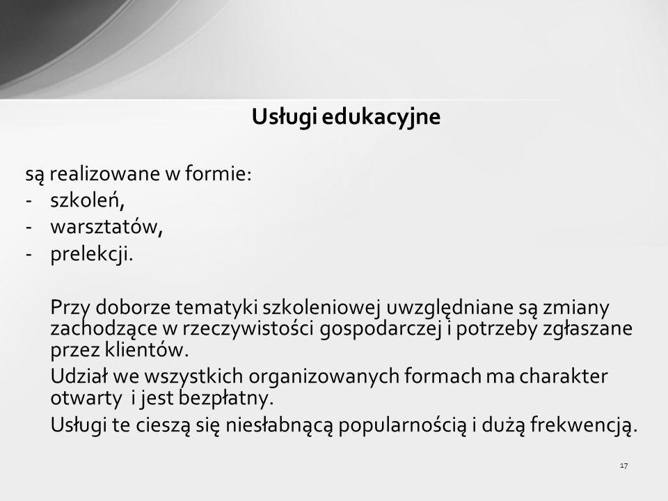 17 Usługi edukacyjne są realizowane w formie: -szkoleń, -warsztatów, -prelekcji.