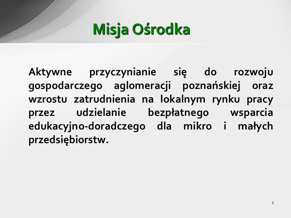 5 Aktywne przyczynianie się do rozwoju gospodarczego aglomeracji poznańskiej oraz wzrostu zatrudnienia na lokalnym rynku pracy przez udzielanie bezpłatnego wsparcia edukacyjno-doradczego dla mikro i małych przedsiębiorstw.