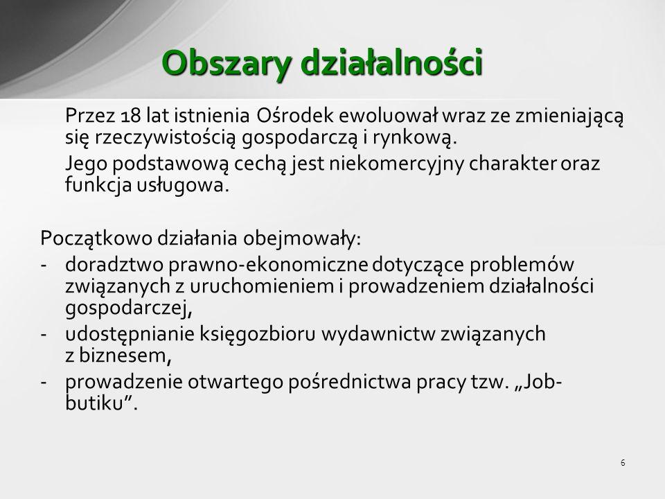 7 Dziś Ośrodek ma trwałe miejsce na gospodarczej mapie aglomeracji poznańskiej, w którym wszyscy zainteresowani mogą korzystać z szerokiego wachlarza bezpłatnych usług w zakresie doradztwa gospodarczego i zawodowego.
