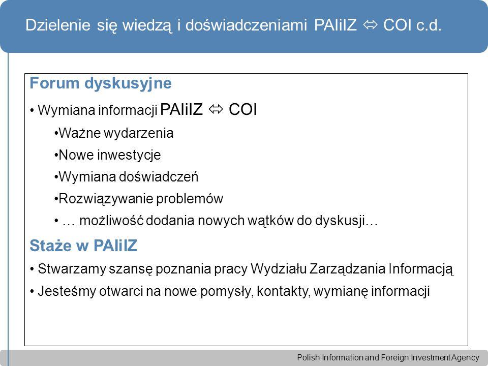 Polish Information and Foreign Investment Agency Dzielenie się wiedzą i doświadczeniami PAIiIZ  COI c.d.