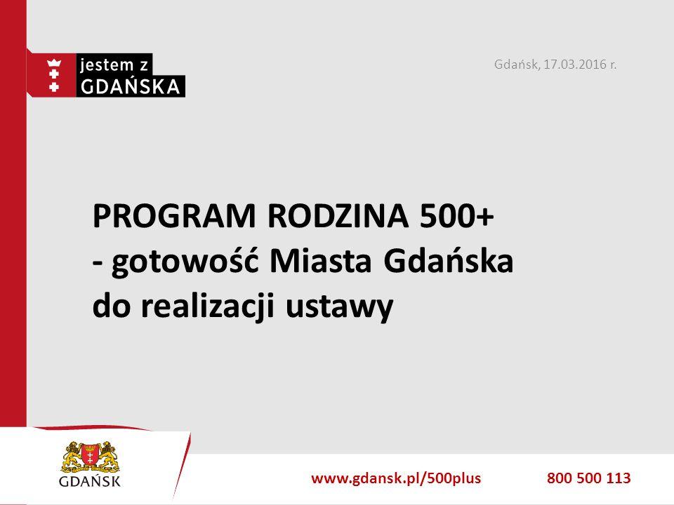 gdansk.pl PROGRAM RODZINA 500+ - gotowość Miasta Gdańska do realizacji ustawy Gdańsk, 17.03.2016 r. www.gdansk.pl/500plus800 500 113