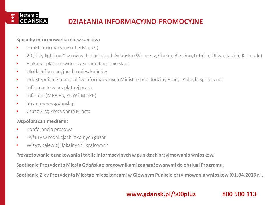 """DZIAŁANIA INFORMACYJNO-PROMOCYJNE Sposoby informowania mieszkańców: Punkt informacyjny (ul. 3 Maja 9) 20 """"City light-ów"""" w różnych dzielnicach Gdańska"""