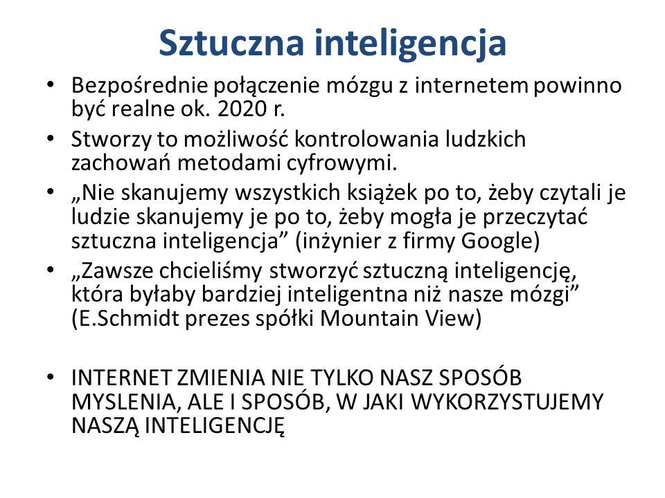 Sztuczna inteligencja Bezpośrednie połączenie mózgu z internetem powinno być realne ok.
