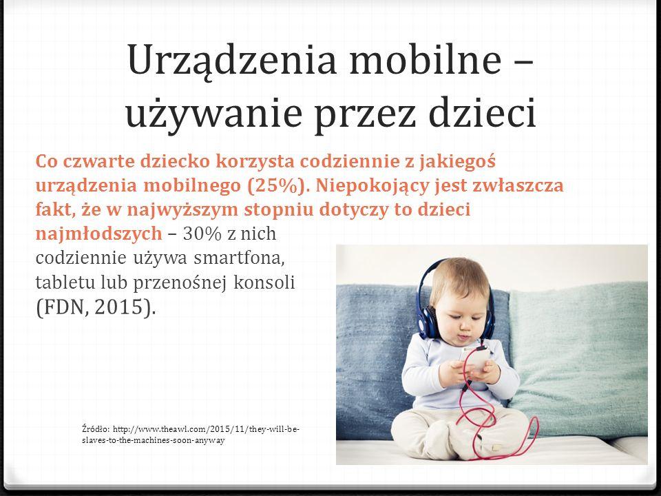 Urządzenia mobilne – używanie przez dzieci Co czwarte dziecko korzysta codziennie z jakiegoś urządzenia mobilnego (25%). Niepokojący jest zwłaszcza fa