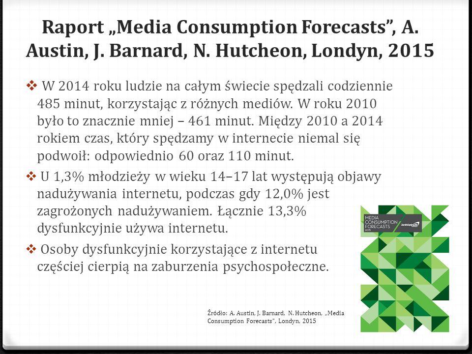 """Raport """"Media Consumption Forecasts"""", A. Austin, J. Barnard, N. Hutcheon, Londyn, 2015  W 2014 roku ludzie na całym świecie spędzali codziennie 485 m"""