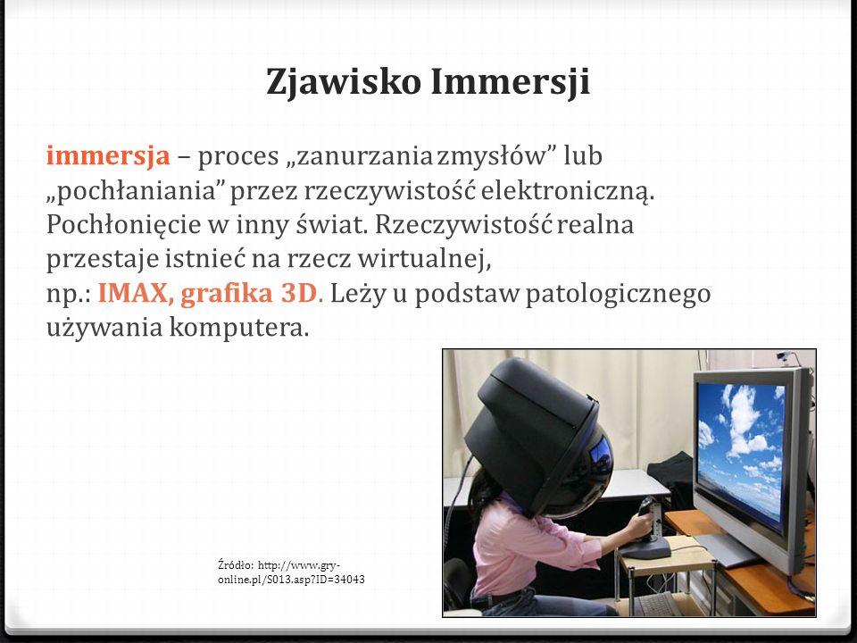 """Zjawisko Immersji immersja – proces """"zanurzania zmysłów"""" lub """"pochłaniania"""" przez rzeczywistość elektroniczną. Pochłonięcie w inny świat. Rzeczywistoś"""