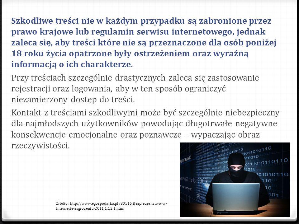 Szkodliwe treści nie w każdym przypadku są zabronione przez prawo krajowe lub regulamin serwisu internetowego, jednak zaleca się, aby treści które nie