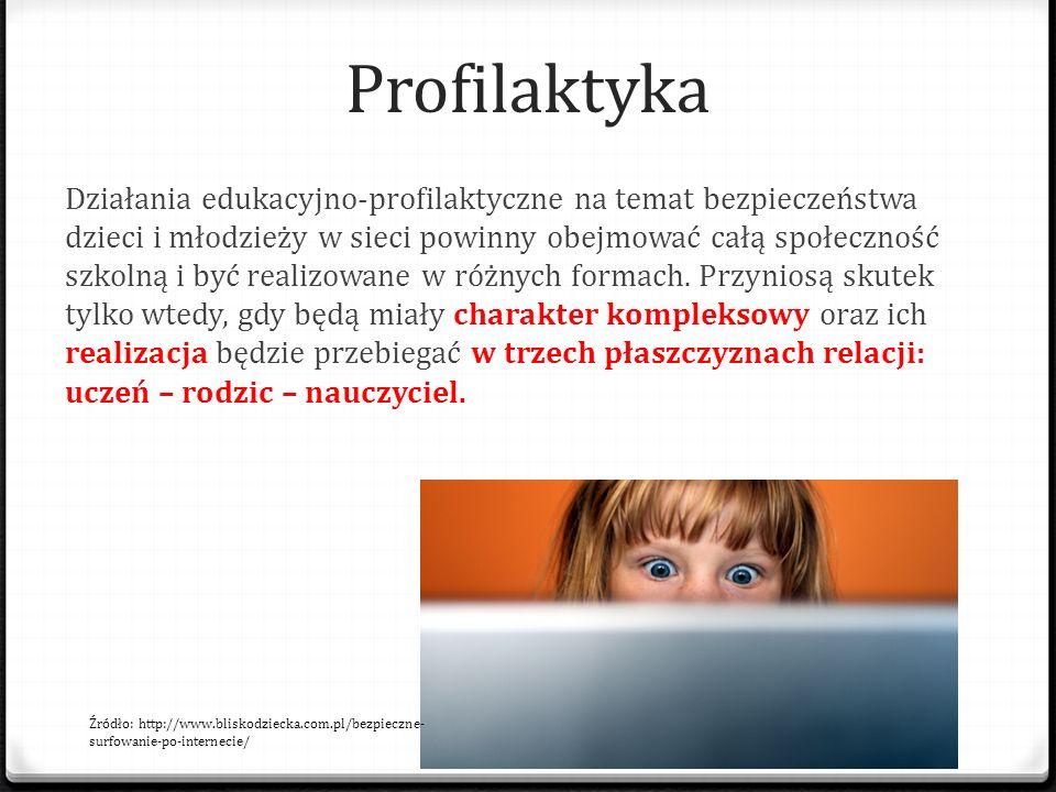 Profilaktyka Działania edukacyjno-profilaktyczne na temat bezpieczeństwa dzieci i młodzieży w sieci powinny obejmować całą społeczność szkolną i być r