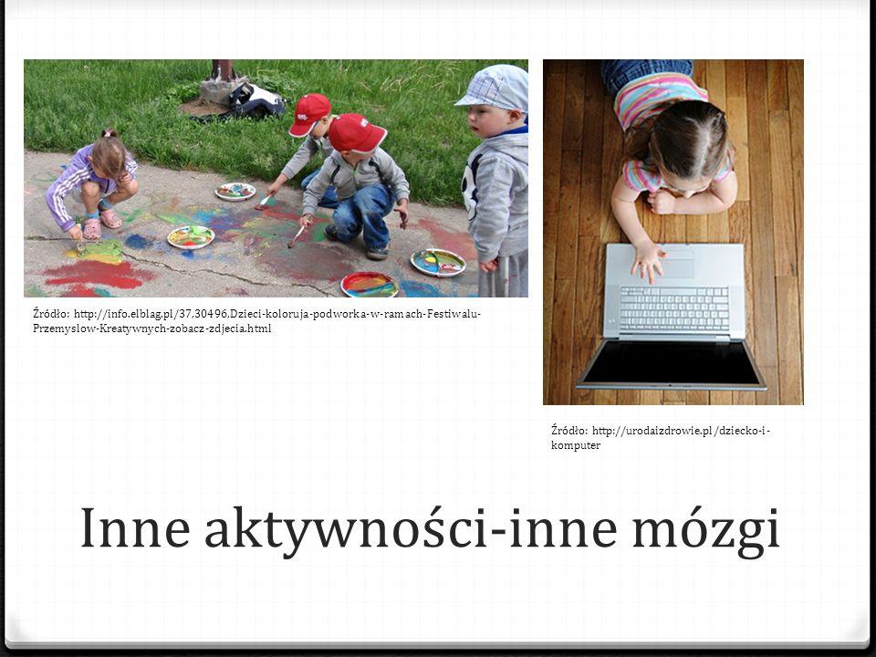 Inne aktywności-inne mózgi Źródło: http://info.elblag.pl/37,30496,Dzieci-koloruja-podworka-w-ramach-Festiwalu- Przemyslow-Kreatywnych-zobacz-zdjecia.h